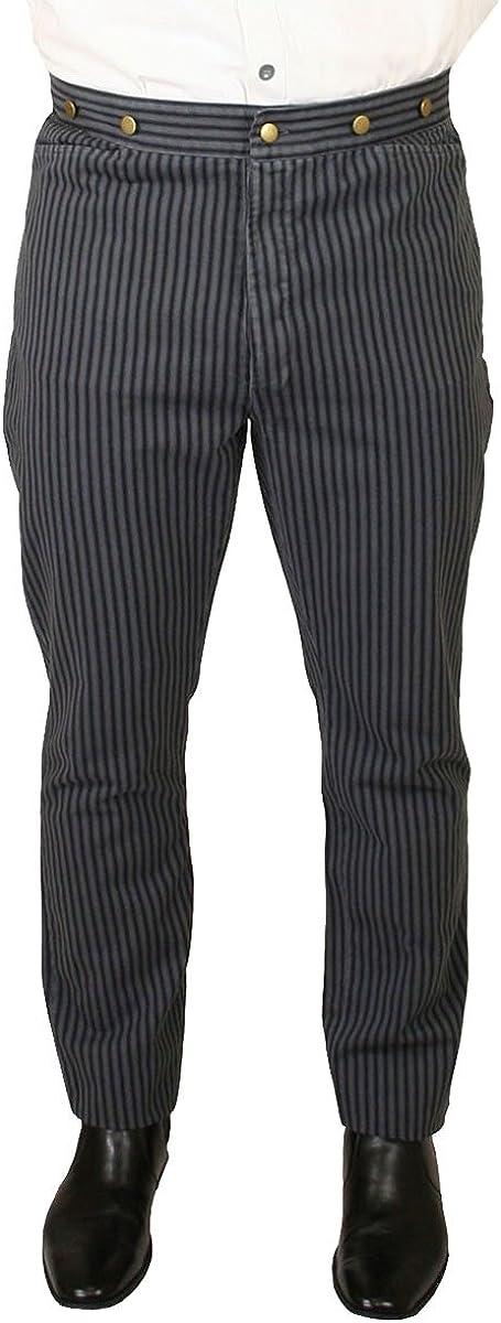 Historical Emporium Men's High Waist Edgar Striped Cotton Trousers 61anlnzdzNL