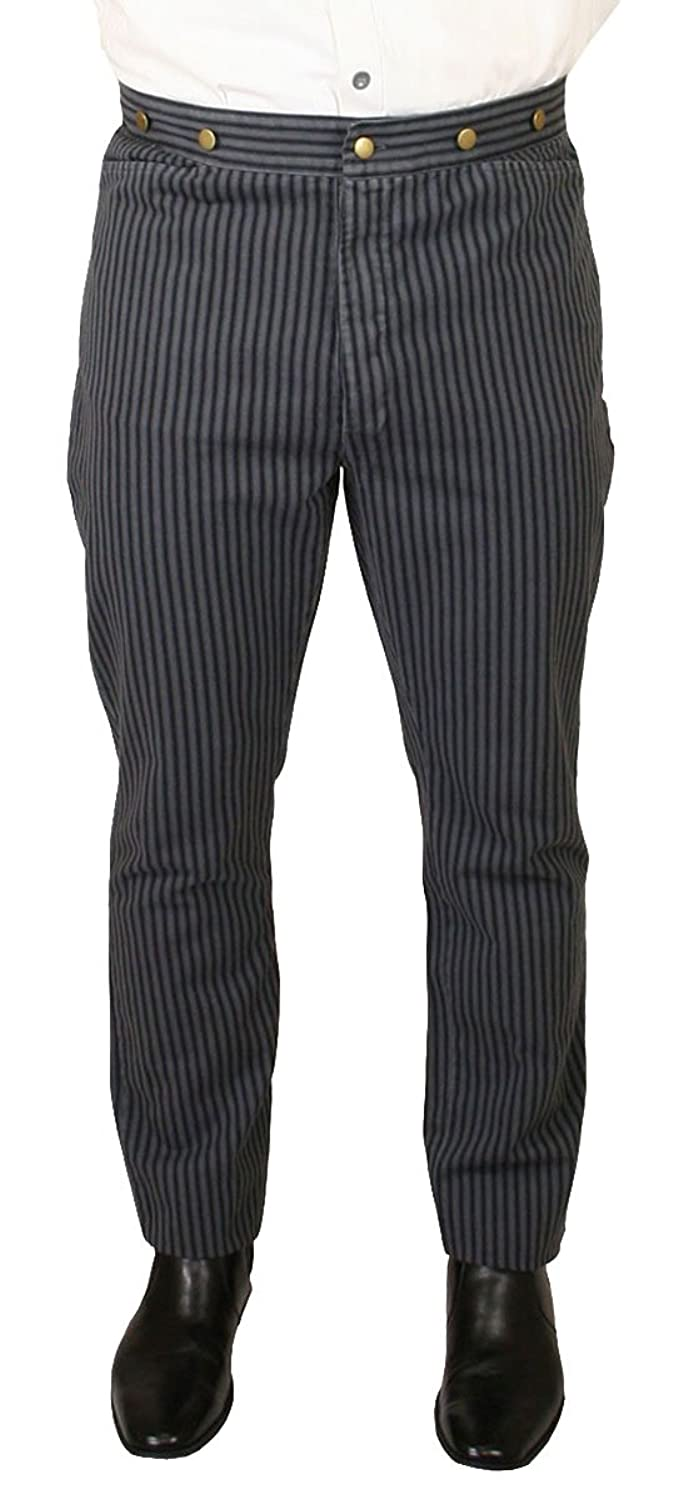 1920s Style Women's Pants, Trousers, Knickers, Tuxedo Historical Emporium Mens High Waist Edgar Striped Cotton Trousers $56.95 AT vintagedancer.com
