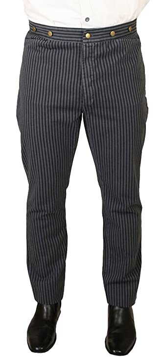 Men's Steampink Pants & Trousers Historical Emporium Mens High Waist Edgar Striped Cotton Trousers $56.95 AT vintagedancer.com