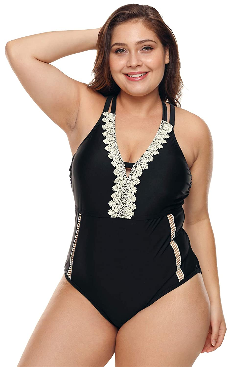 73b00ca5184c1 One Piece Strappy Back Ladder Cut Out Side Deep V Neck Lace Spliced Padded  Swimsuit Monokini Black White at Amazon Women s Clothing store