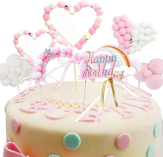 Marvelous Keleily Rainbow Birthday Cake Topper Pompom Clouds Arch Bridge Personalised Birthday Cards Akebfashionlily Jamesorg