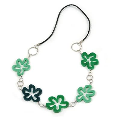 Avalaya Green Shell Floral Leather Cord Long Necklace -78cm Length lKRfq