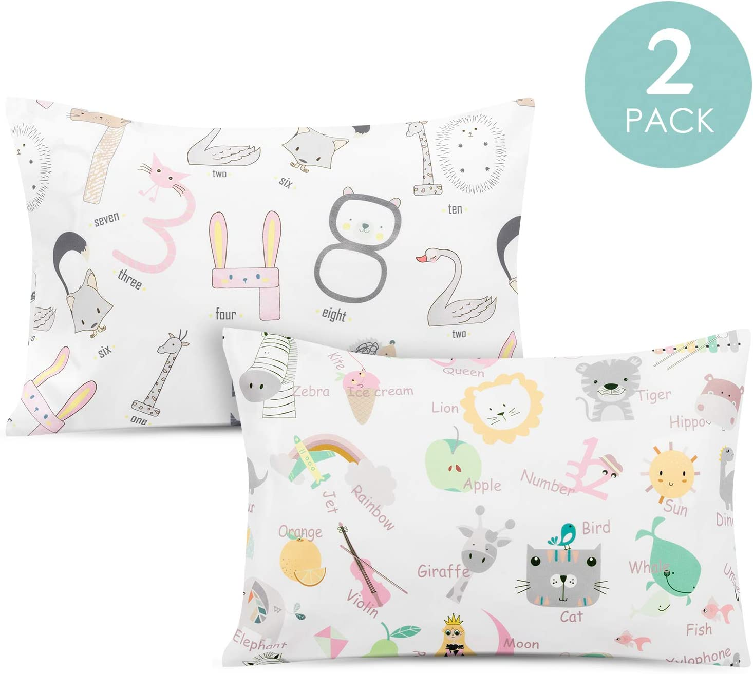 Multi color Giraffes Travel//Toddler Size Handmade Cotton Pillowcase