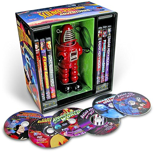 Retro Science Fiction Adventures (6-DVD Box Set with Wind-Up Metal Toy Robot)
