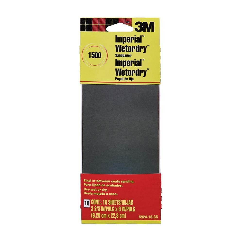 1500 Grit Sandpaper 3M 3-2//3 in x 9 in 10 Sheets-Pack