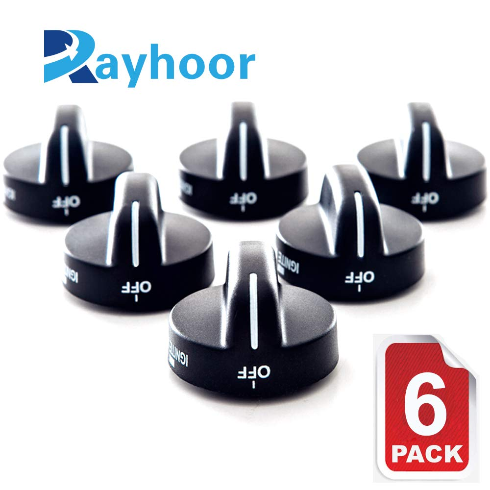 Rayhoor 8273103 Range Burner Knob Black Replacement Part Fit for Whirlpool & Sears - Replaces AP3085376, PS393678 (6 Pack)