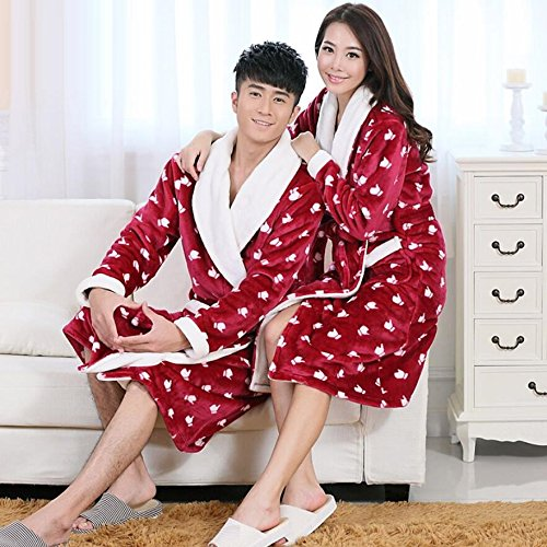 GL&G Flannel couple breathable nightgown bathrobe to increase thepajamas comfort fashion gown bathrobes,Men,L by GAOLIGUO (Image #2)