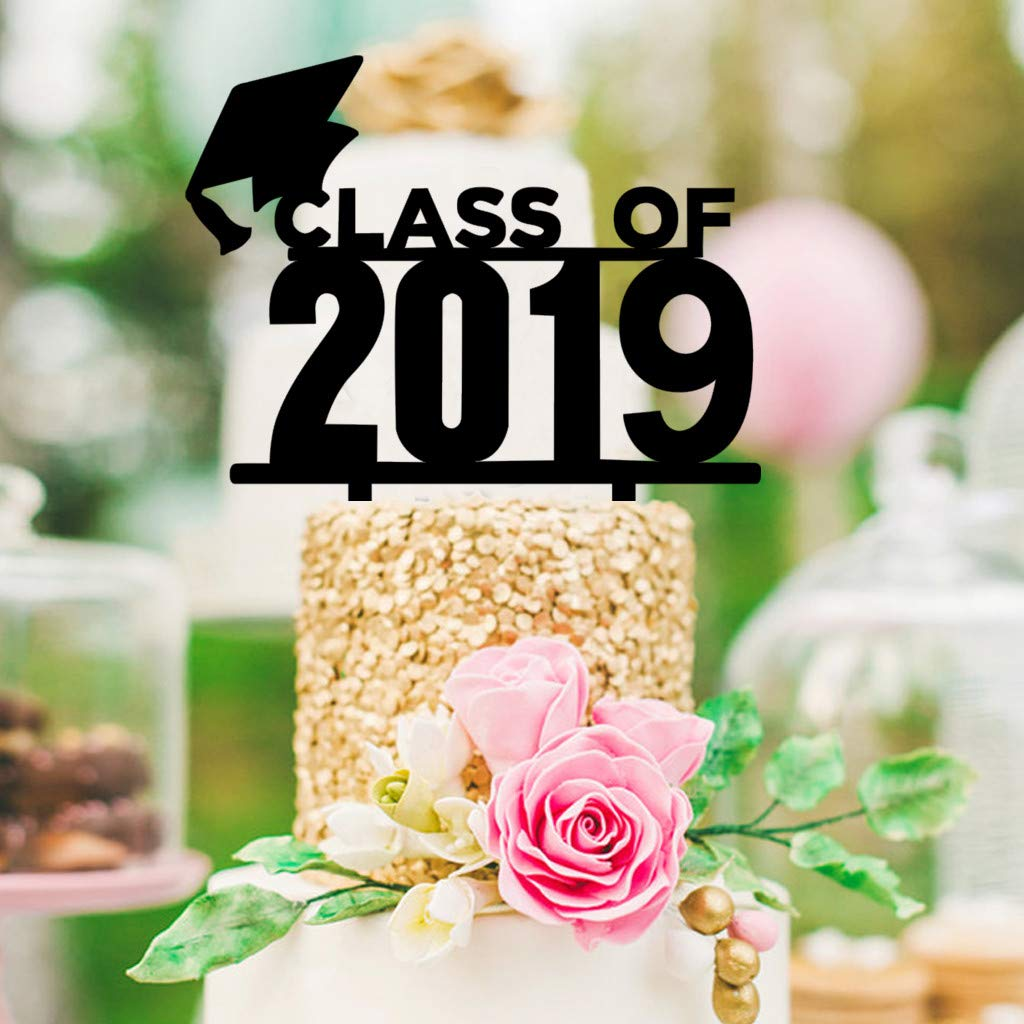 AMOFINY Home Decor Acrylic Black Class Cake Toppers for College Graduate High School Graduation 1Pc