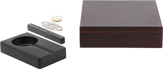 BigSmoke Humidor de Puros - Caja de Madera de Cedro, Humidificador, Higrometro Magnetico, Cenicero y Cortador - Case Hermetica con Divisor y Bisagras Metálicas - Para 30 puros - Marrón: Amazon.es: Hogar