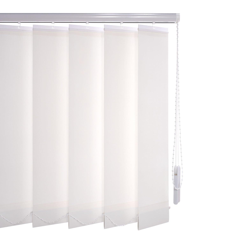 Liedeco Vertikalanlage Lamellenanlage Lamellenvorhang Vertikaljalousie   Lamellenbreite 127 mm   Höhe 180 cm, oder 250 cm   kürzbar   weiß (150 x 250 cm)