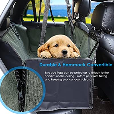 Pet Seat Cover Car Seat Covers for Dogs with Side Flaps Waterproof Dog Hammock for Back Seat Heavy Duty Thick Polyester Scratch Proof Nonslip Durable Washable Dog Seat Covers for Cars Trucks and SUVs