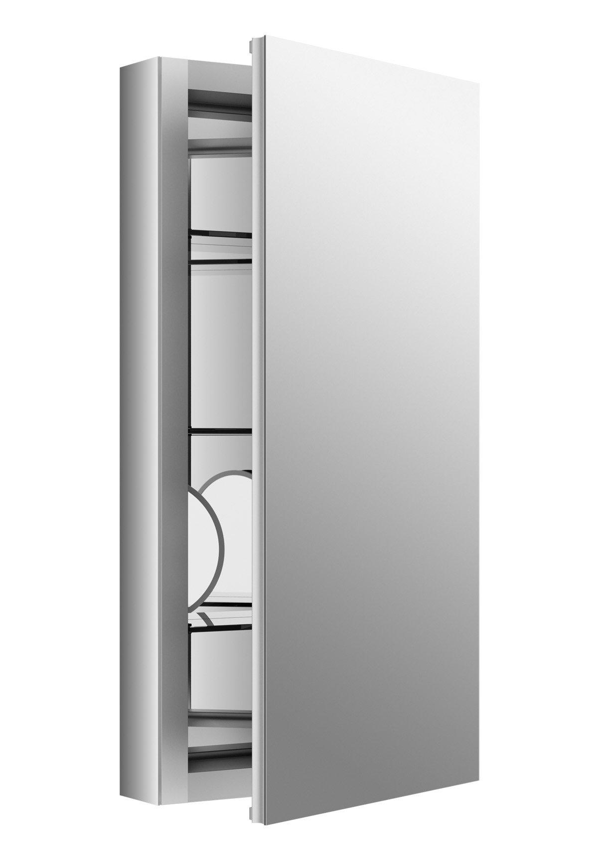 KOHLER 99001-SCF-NA Verdera Aluminum Medicine Cabinet with Adjustable Flip-Out flat Mirror, 15 inch W x 30 inch H Verdera Medicine Cabinet with Adjustable Flip-Out flat Mirror, 15 inch W x 30 inch H