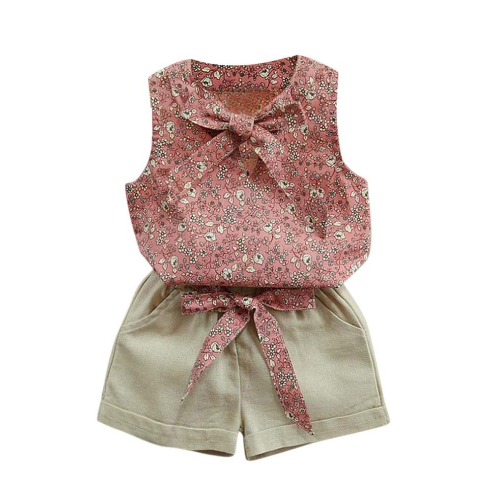 Toddler Kids Baby Girls Cute Floral Bowknot Sleeveless Vest T-Shirt+Shorts Belt Outfits Clothes Set Aritone BE-35