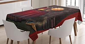 "Ambesonne Gothic Tablecloth, Fortuneteller Room with Mystic Crystal Ball Magician in Fairy Tale Image Print, Rectangular Table Cover for Dining Room Kitchen Decor, 52"" X 70"", Maroon Brown"