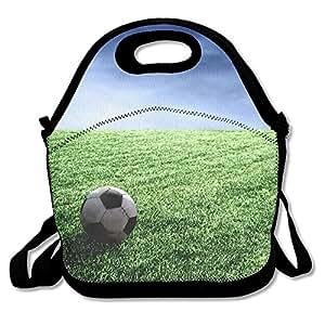 Football Waterproof Reusable Neoprene Lunch Bags With Adjustable Shoulder Strap For Men Women Adults Kids Toddler Nurses