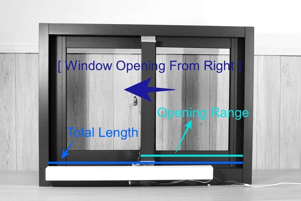 Abridor de ventanas eléctrico industrial para ventanas correderas, longitud total de 47 pulgadas/120 cm, apertura de ventana de derecha a izquierda, rango de apertura máximo de 27 pulgadas/70 cm, kit de bricolaje,