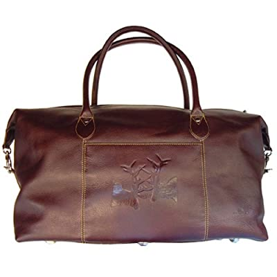 Dark Brown Italian Hide Leather Sparring Hares Weekender Bag by Tyler and Tyler