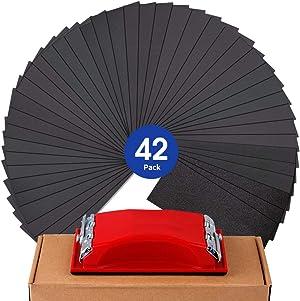 "Sandpaper Girt 120 to 3000 Sand Paper with Sanding Block Sander, Wet Dry Variety Pack Abrasive Sandpapers Assortment for Wood Automotive Car Furniture Metal Polishing Finishing, 9х3.6"""