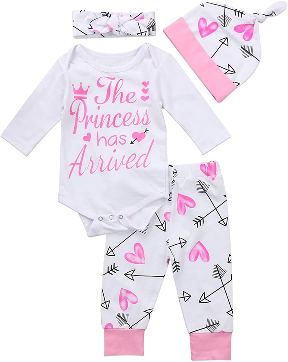 4 Pcs Newborn Baby Girls Pants Set Letter Romper Bodysuit Arrow Heart Pants Hat Headband Outfit Clothes