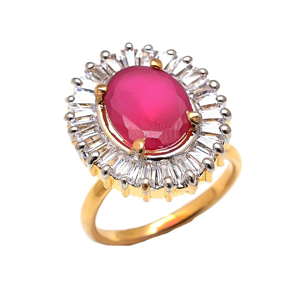 Geode Delight Big Girls Gold Plated American Diamond Adjustable Ring