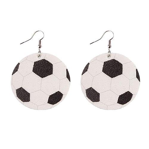 Pendientes de balón de fútbol redondos de piel de doble cara para ...