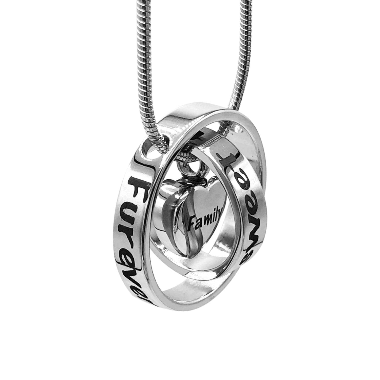 PrivitChiCo Furever in My Heart Stainless Steel Pet Cremation Jewelry Double Ring Heart Keepsake, 24'' Necklace Pendant Locket Set for Dog Cat and Pet Loss Gift Womens Jewelry by PrivitChiCo