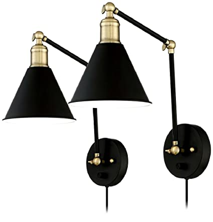 buy popular d4e86 75e6c Amazon.com: Wray Black And Antique Brass Plug-In Wall Lamp ...