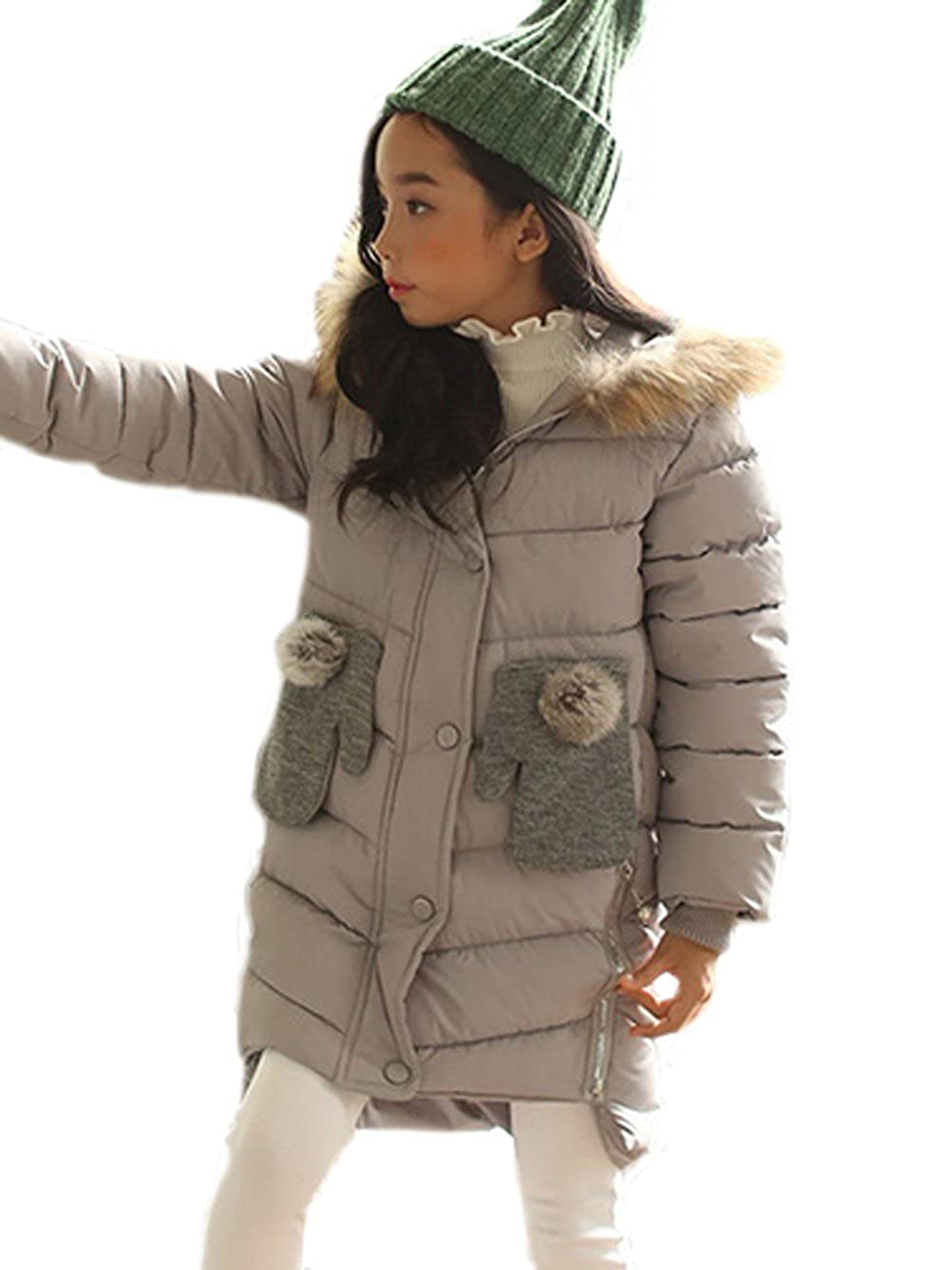 Maison Jardin Piumino Girl Princess Cappotto invernale Autunno Half Long Thick Parka Hooded Fur (4-12 anni)
