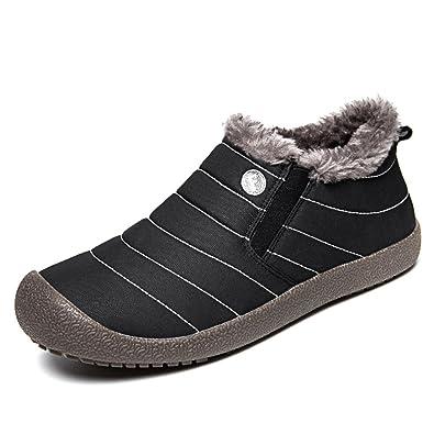 SAGUARO® Herren Damen Winterschuhe Warm Gefütterte Boots Stiefelette Outdoor Schneestiefel Winter Schuhe,High top blau,44 EU