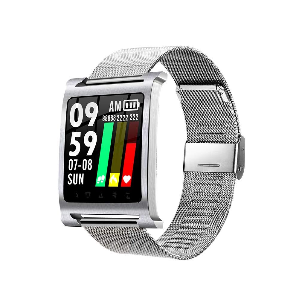 Steelstripargent  LONG Tracker de Fitness, Tracker Intelligent, Bracelet de Sport Intelligent, Appel bleutooth, imperméable à l'eau, podomètre, détection de Sommeil, Push SMS