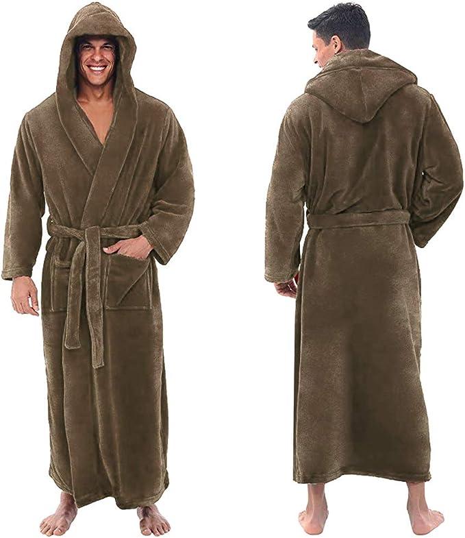Full Length Big /& Tall Spa Robe Luxurious Bathrobe for Men Warm Hooded Long Robe 2XL, Red 1