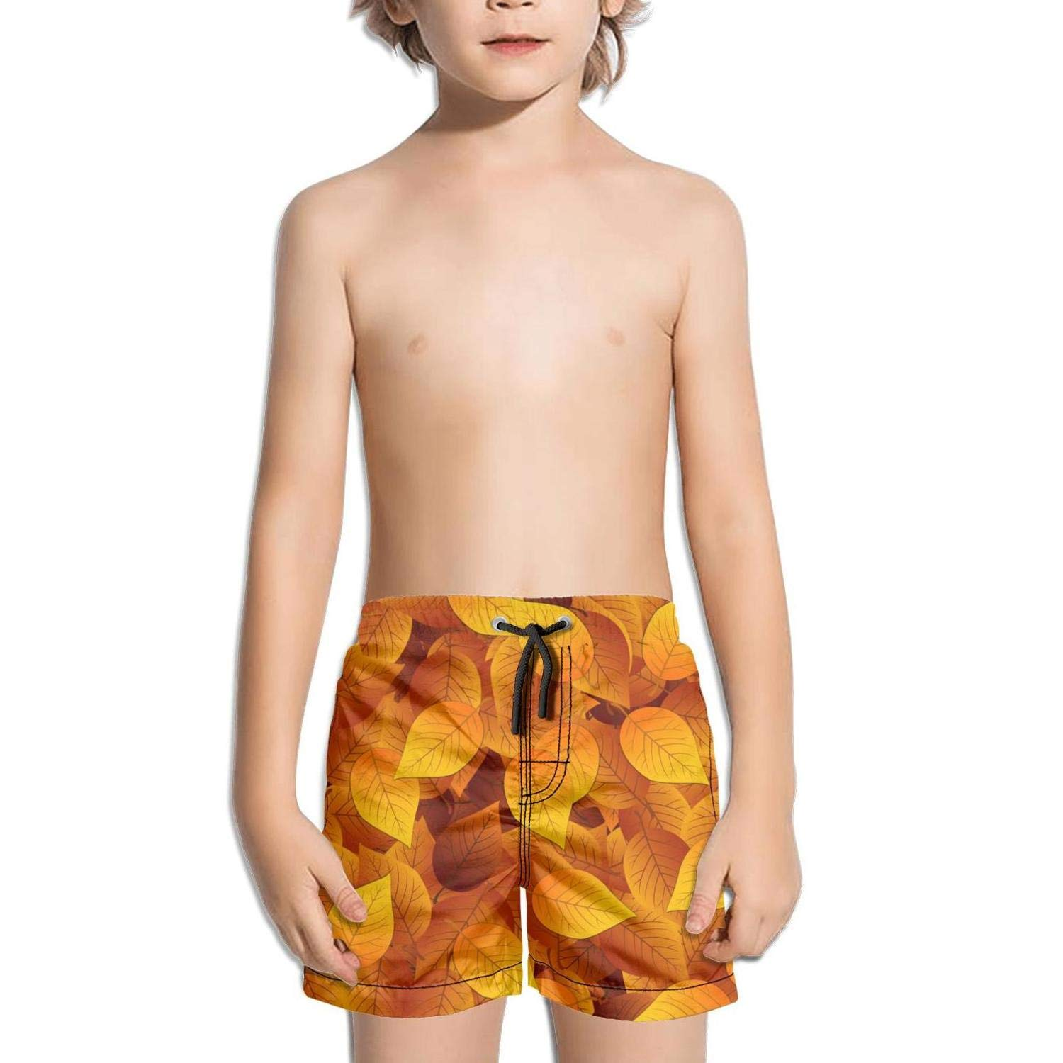 Lenard Hughes Boys Quick Dry Beach Shorts with Pockets Autumn Leaves Tropical Wallpaper Swim Trunks for Summer