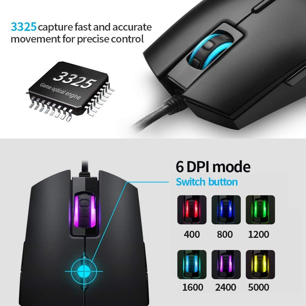 RGB Gaming Mouse Wired LED Mice,Hcman Breathing Backlit Optical USB Mouse with 5000 DPI Programmable 8 Buttons,PC Computer Laptop Mouse for PC & Mac Gamers (Black)