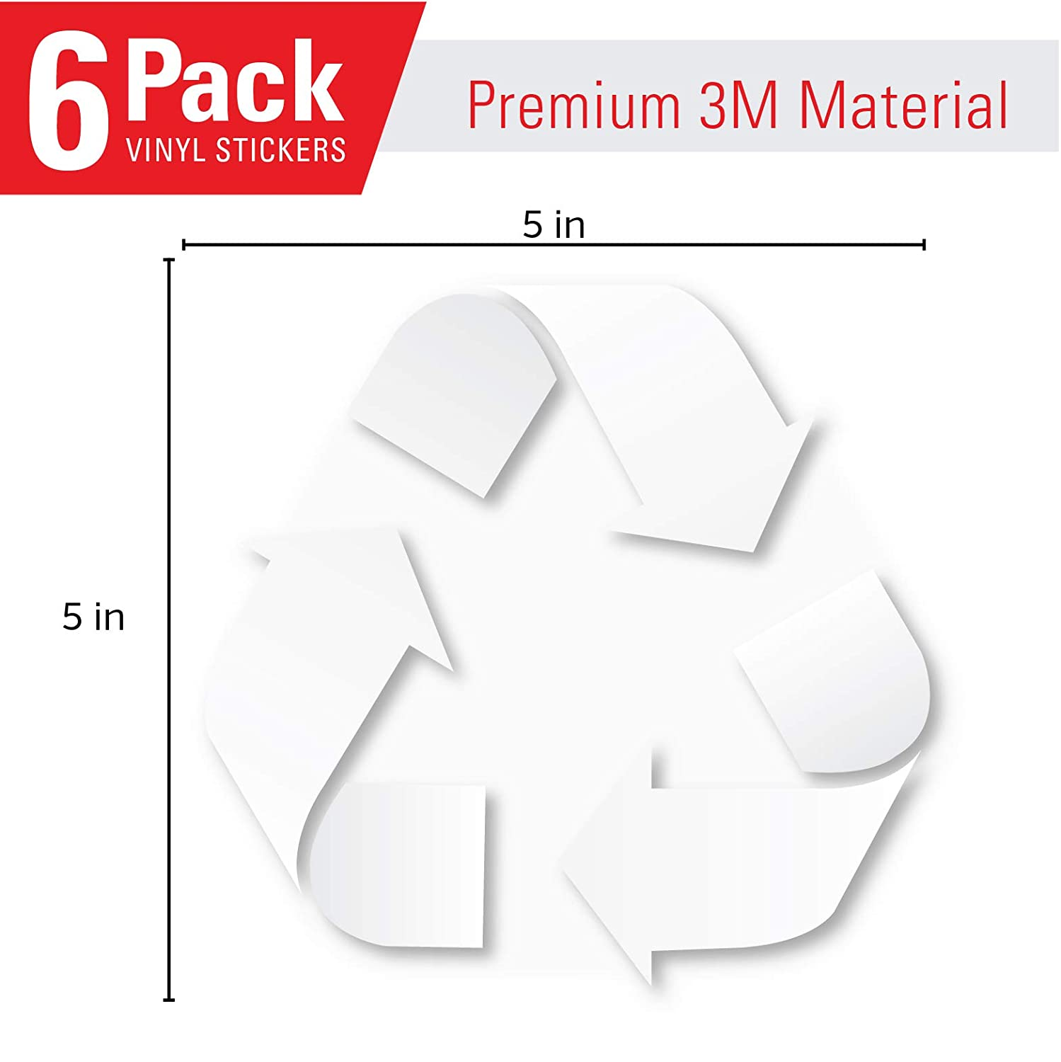 6 Pack Laminated Garbage containers and Recycle Bins 7 Mil for Trash cans Premium Vinyl Decal 5in x 5in Blue//White Recycle Logo Sticker to Organize Your Trash