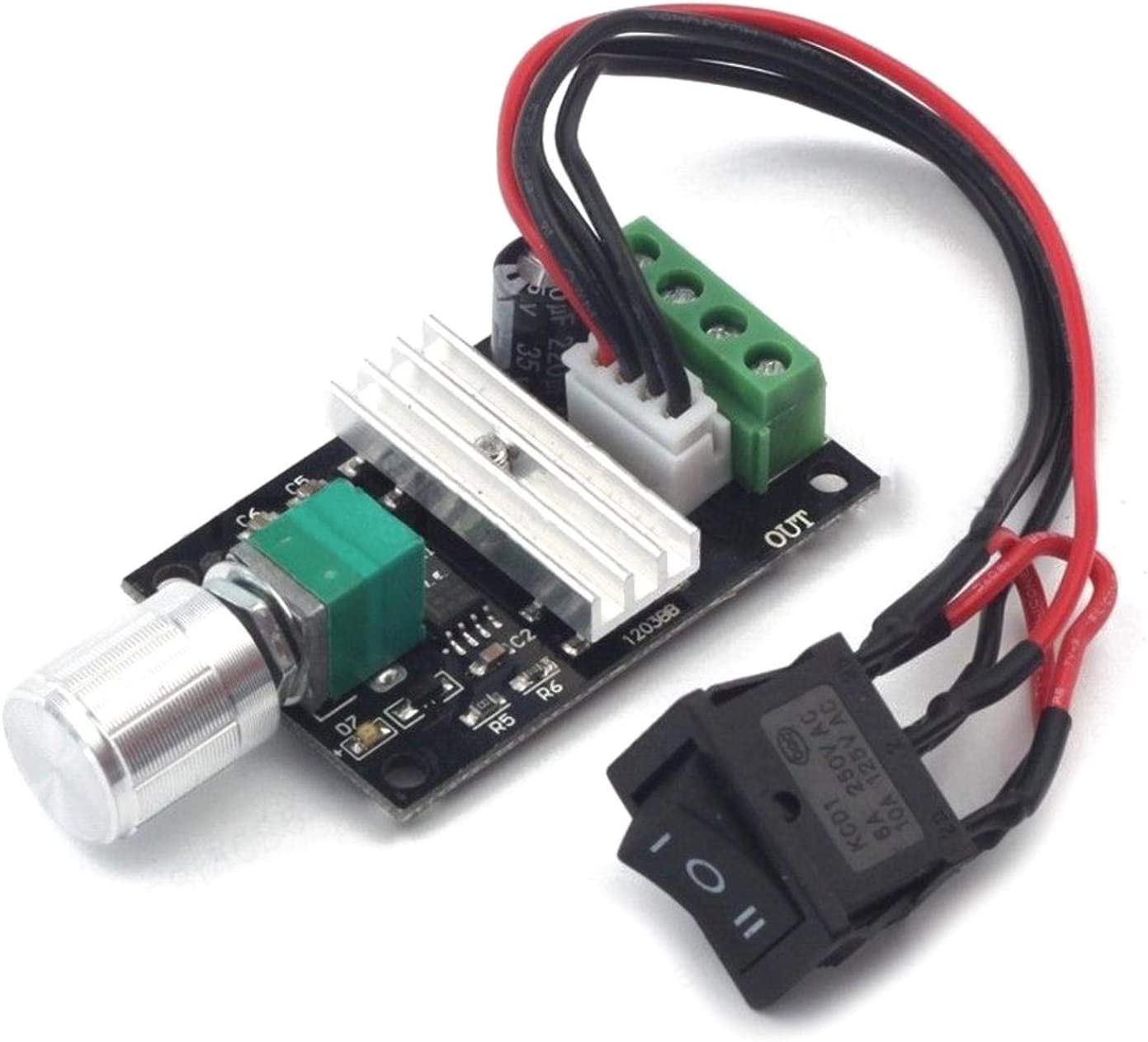 DULALA DC Motor Speed Controller Forward Reverse Switch Control 1203B(6V 12V 24V 3A PWM)