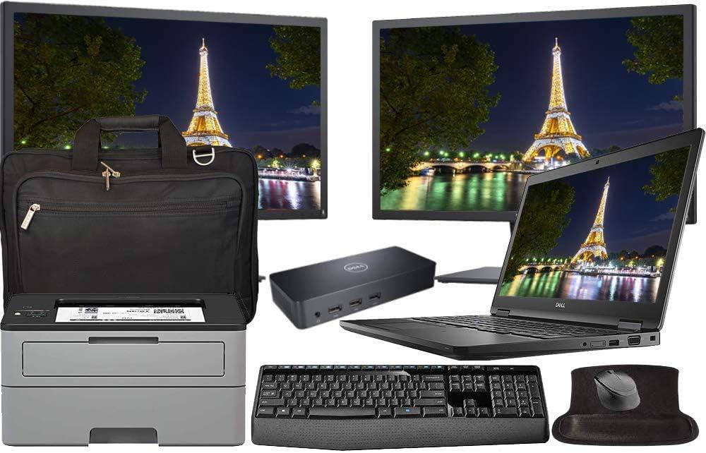 Dell Latitude 5590 Business Laptop Bundle with Dual 24 Inch Monitors, Printer, Docking, Keyboard, Mouse, Intel i7-8650U Quad Core, 16GB RAM, 1TB SSD, Windows 10 Pro, Office 365