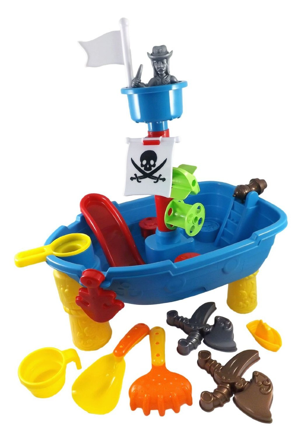 Amazon.com: Pirate Ship Beach Sand And Water Play Table For Kids With  Shovel, Rake, Sand Wheel, Mini Boat, Shape Molds U0026 More: Toys U0026 Games