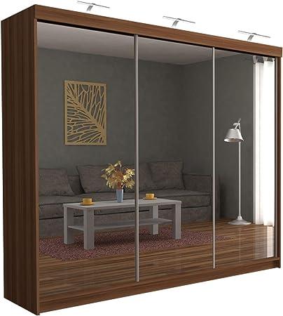 Sliding Wardrobe 4u Modern Full Mirror 3 Sliding Door Wardrobe Chicago 250cm With Led Ligh Walnut Amazon Co Uk Kitchen Home
