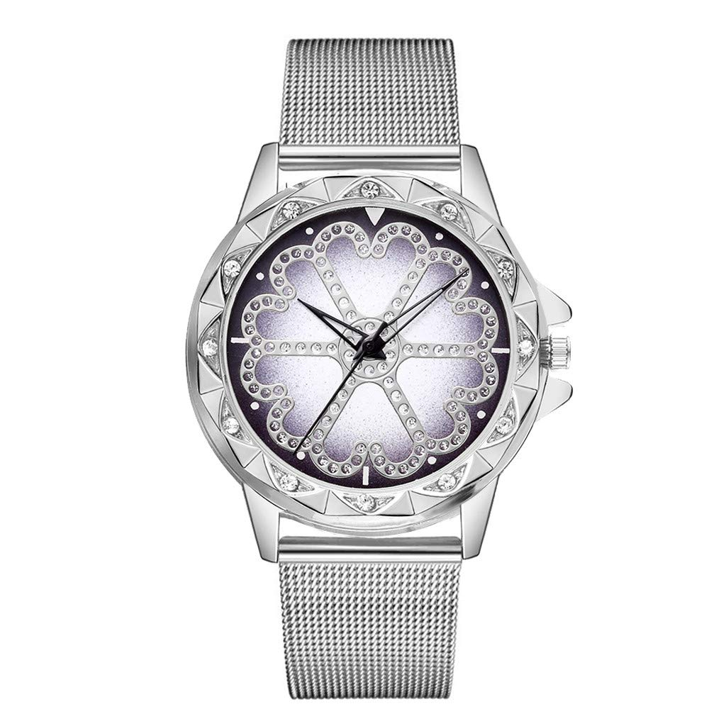 Women Flower Dial Crystals Wrist Watches Unisex Casual Clock with Milanese Mesh Metal Strap by Bravetoshop(Silver)