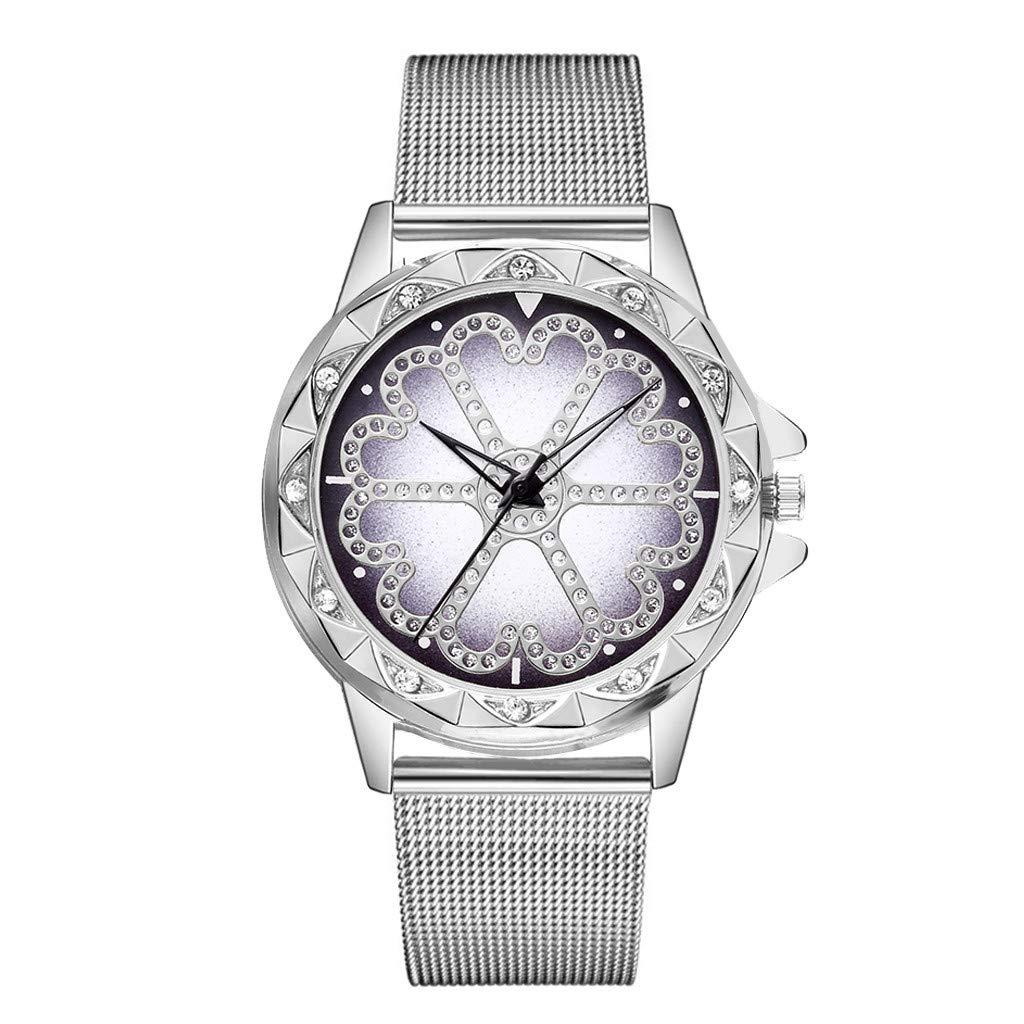 JDgoods Fashion Leisure Waterproof Wrist Watch Lucky Flower Rhinestone Flickering Quartz Watches Steel Strip Rhinestone Lady Watches (Silver)