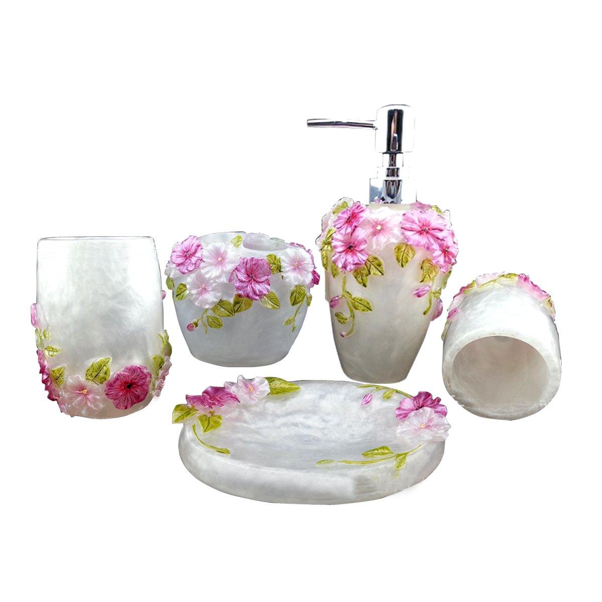 HQdeal 5PC Set Acrilico Accessori bagno Bagno Set Fiori Bloom acrilico Set bagno dispenser di sapone / Portaspazzolino / Tumbler / Soap Dish AX-AY-ABHI-67424