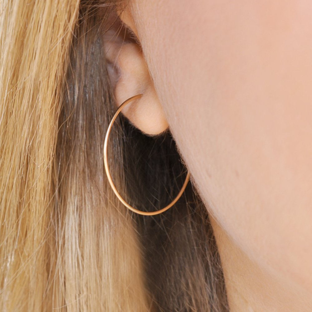 Handmade Hoop Earrings, Gold Filled Wire Hoops, Lightweight Thin Endless Hoops