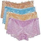 FEOYA Girls Lace Briefs Soft Comfortable Womens Briefs High Waist Raise Hip Ladies Breathable Summer Underwear Apricot & Light Blue & Light Apricot & Light Purple 4 Pack