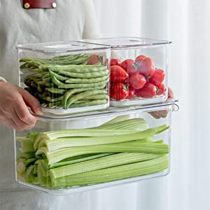 Food Storage Containers Fridge Produce Saver- 3 Piece Set Stackable Refrigerator Organizer Keeper Drawers Bins Baskets with Lids and Removable Drain Tray for Veggie, Berry, Fruits and Vegetables