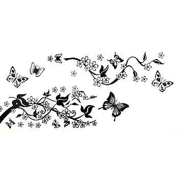 Pegatinas de Pared Nombre Personalizado Mariposa Flor Niños Extraíble Vinilo Calcomanía Decoración para Arte