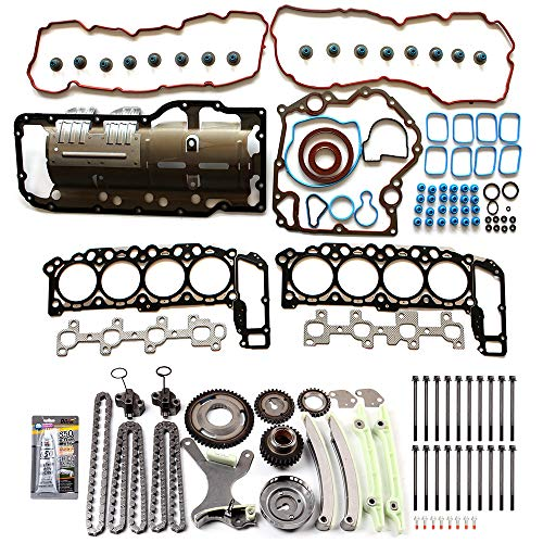 ECCPP Engine Timing Chain Kit Head Gasket Set for 04-06 Jeep Commander Dodge Dakota Mitsubishi Raider 4.7L DOHC V8 Gas Gasket Set ()
