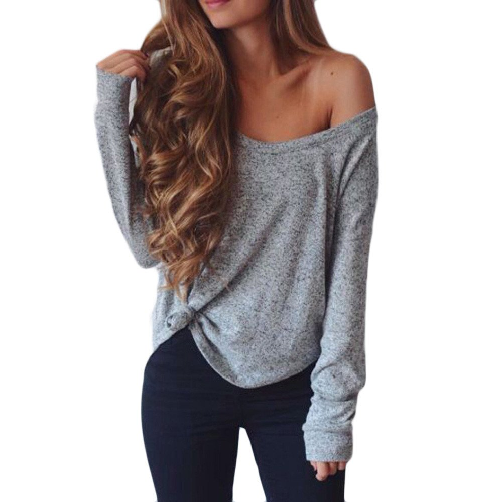Women Pullover Casual Autumn Long Sleeve Solid Off Shoulder Loose Blouse Shirts Tops