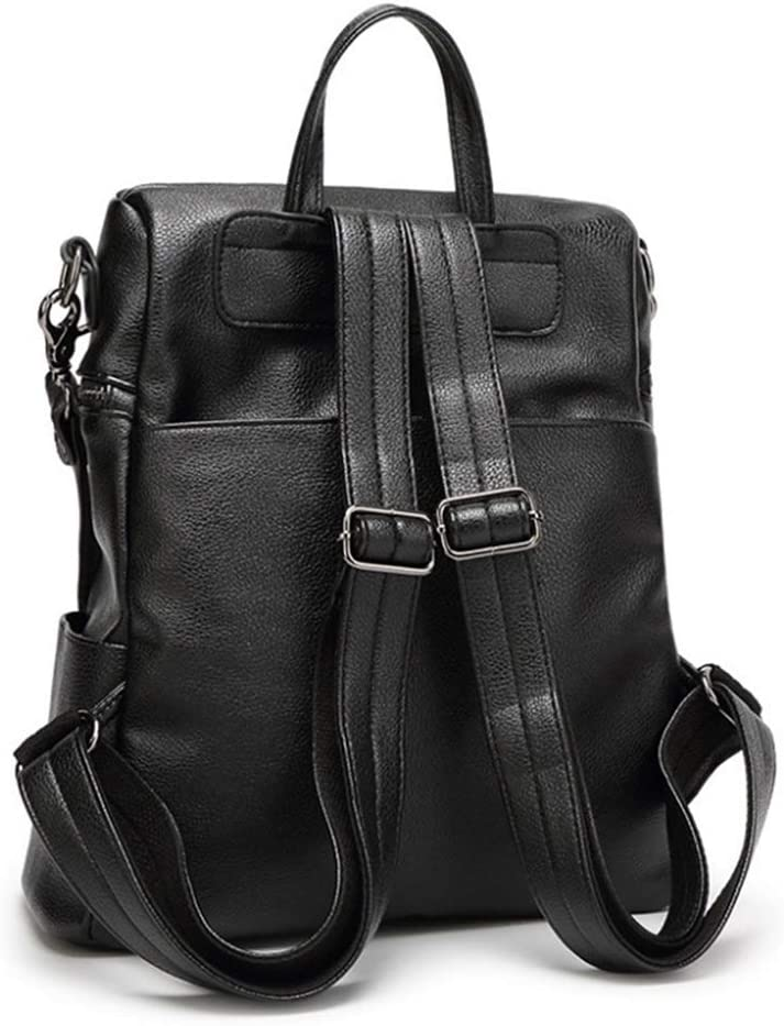 RABILTY are Large Capacity Backpack Backpack Bag Lady Leather Fashion Student Backpack Travel Color : Black