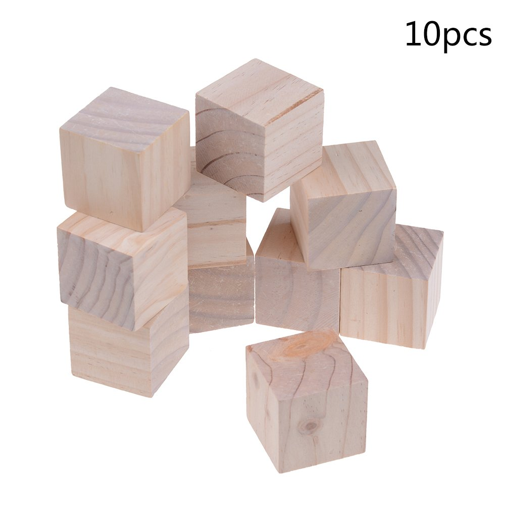 100 Pcs Wood Cubes 1cm Wood Square Blocks for Kid's DIY Craft Gifts Art Supplies amazing-trading