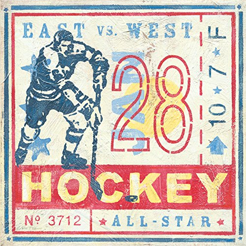 Oopsy Daisy Game Ticket Hockey by Roger Groth Canvas Wall Art, 14 by 14-Inch